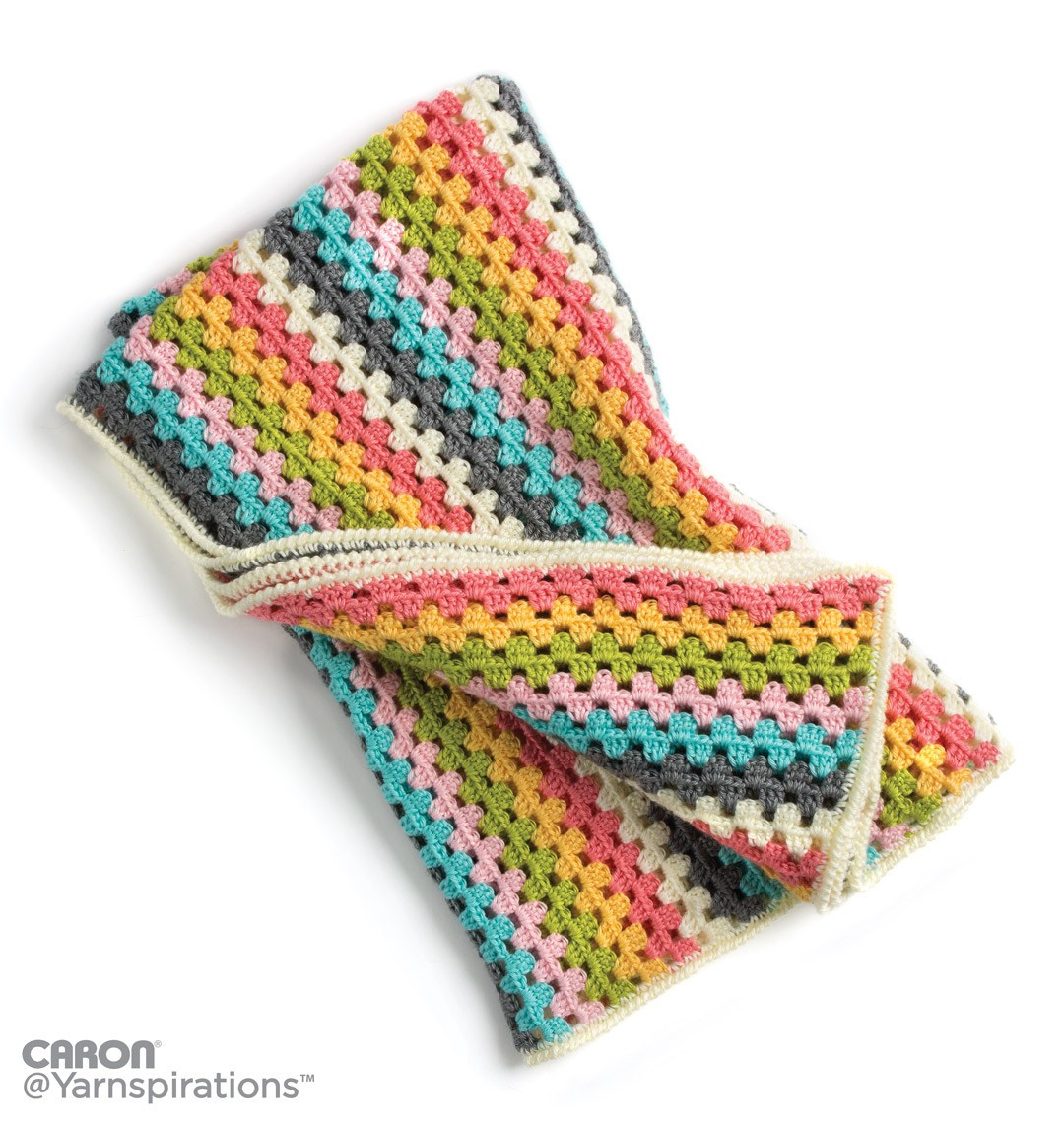 Caron Granny Stripes Afghan Crochet Pattern
