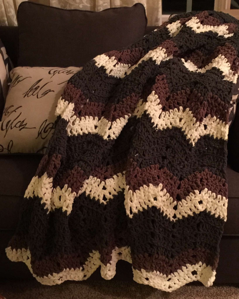 Chunky and Bulky Chevron Afghan Pattern