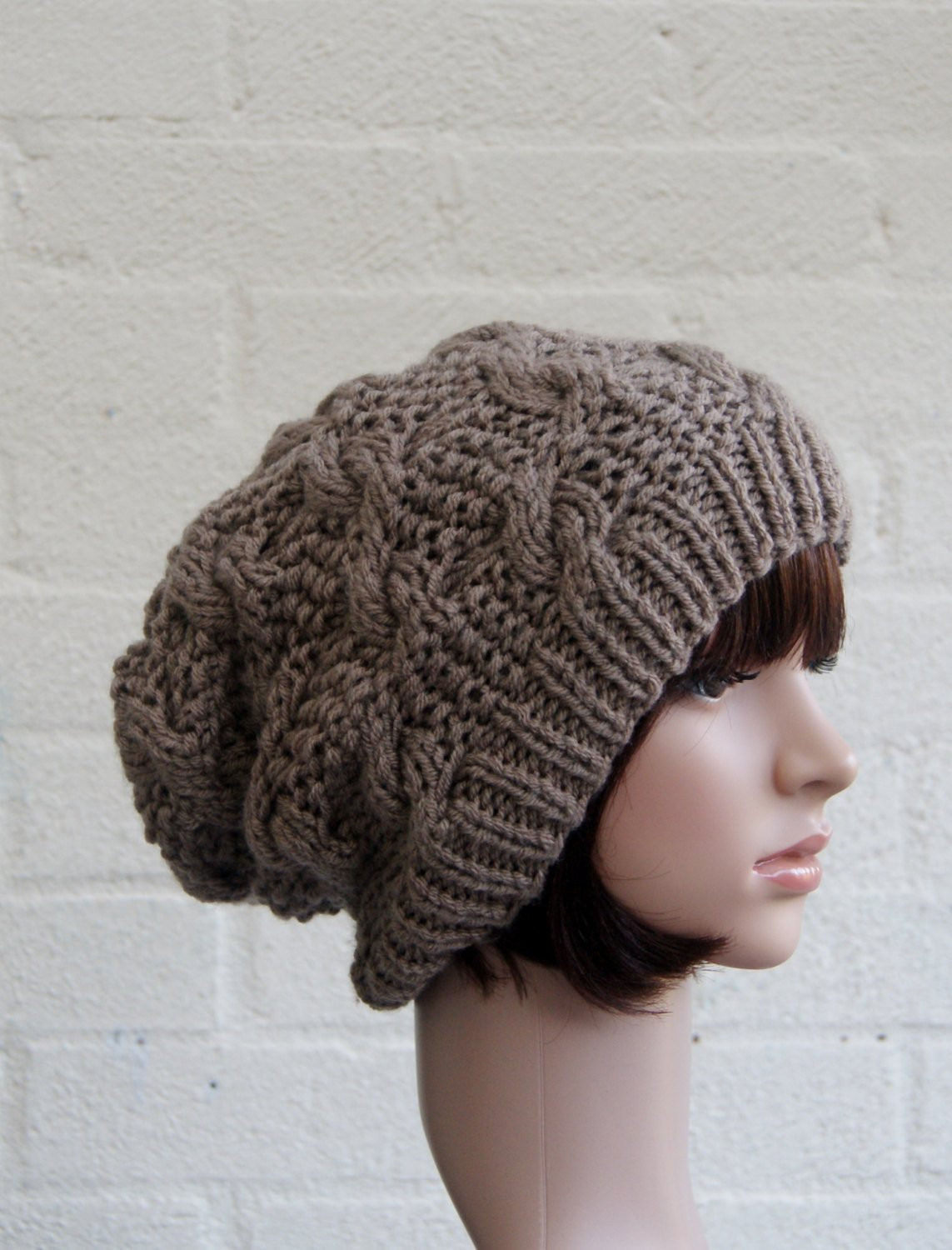 Chunky knit cable beanie in Walnut Slouchy Beanie Knitted
