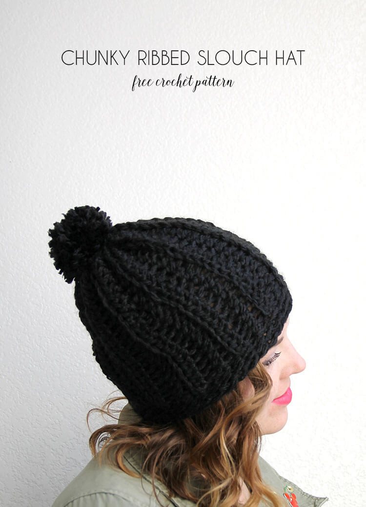 chunky ribbed slouch hat free crochet pattern ments