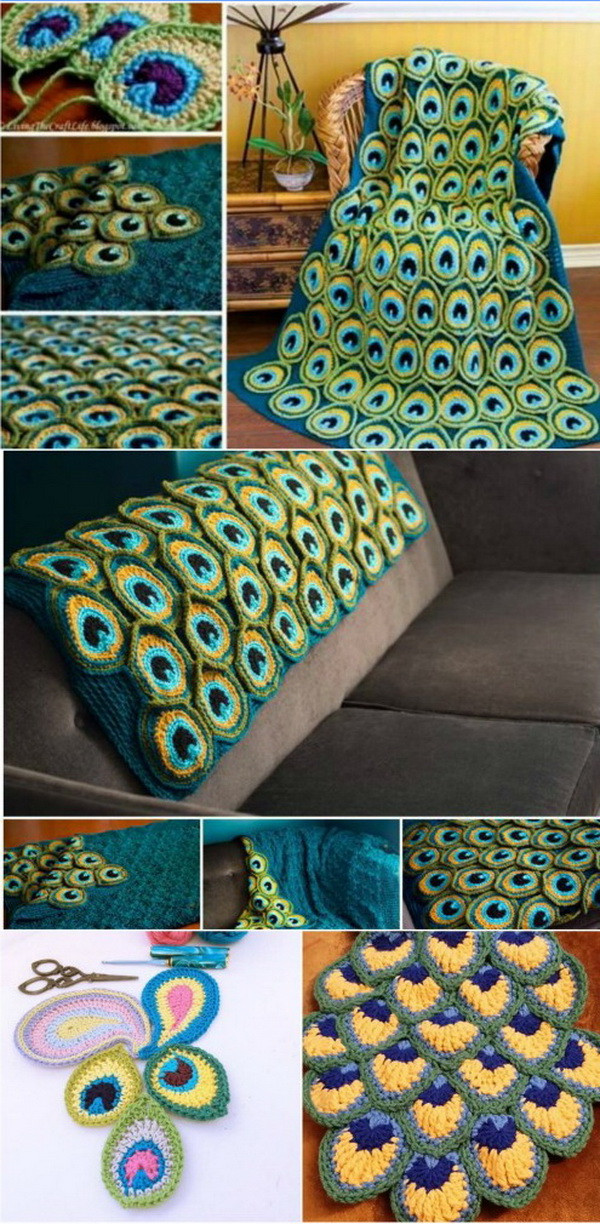 Inspirational Cool & Easy Crochet Blankets with Lots Of Tutorials and Peacock Crochet Blanket Of Amazing 42 Photos Peacock Crochet Blanket