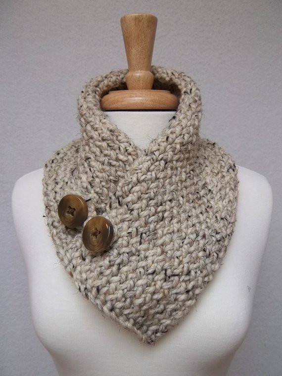 Inspirational Cowl Knitted Oatmeal buttoned Neck Warmer Scarflette Scarf Knitted Neck Warmer Of Amazing 47 Ideas Knitted Neck Warmer