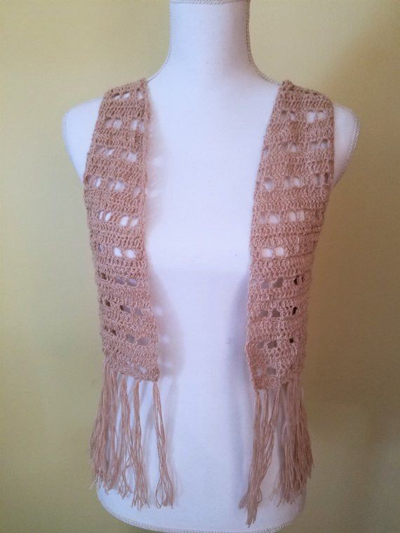 Inspirational Cream Linen Crochet Vest with Fringe Boho Vest Festival Crochet Vest with Fringe Pattern Of Brilliant 40 Images Crochet Vest with Fringe Pattern