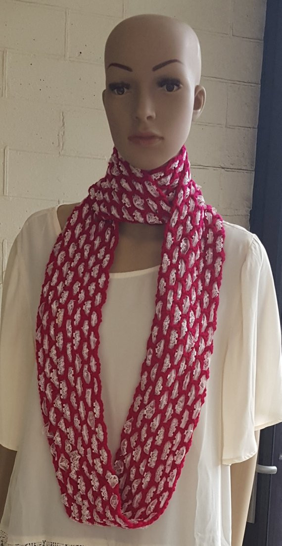 Inspirational Crochet and Lace Infinity Scarf Fuchsia Scarf with Pale Pink Lace Infinity Scarf Of Charming 45 Ideas Lace Infinity Scarf