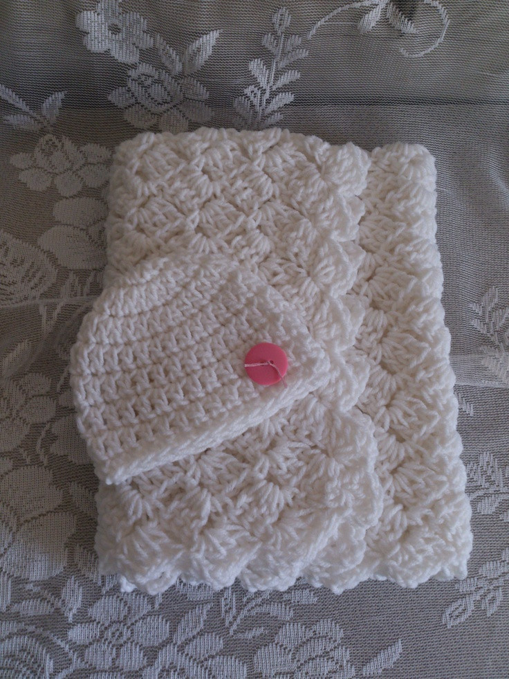 Crochet Baby Blanket White Shell Stitch With Beanie by