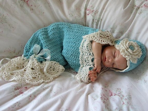 Crochet Baby Cocoon and Hat Pattern Prop Pattern