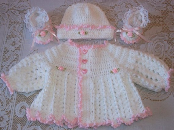 Inspirational Crochet Baby Girl Pink and White Sweater Set Layette for Take Crochet Baby Sweater Sets Of Charming 43 Photos Crochet Baby Sweater Sets