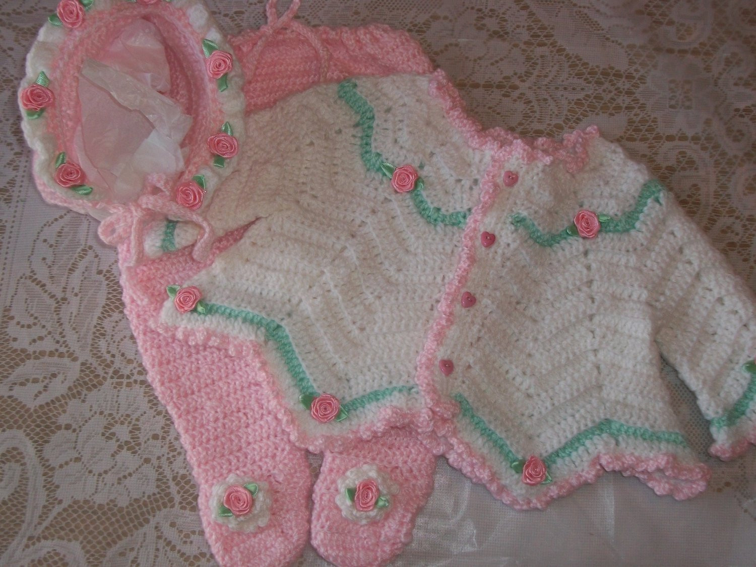 Crochet Baby Girl Sweater Set Layette Perfect For Baby Shower