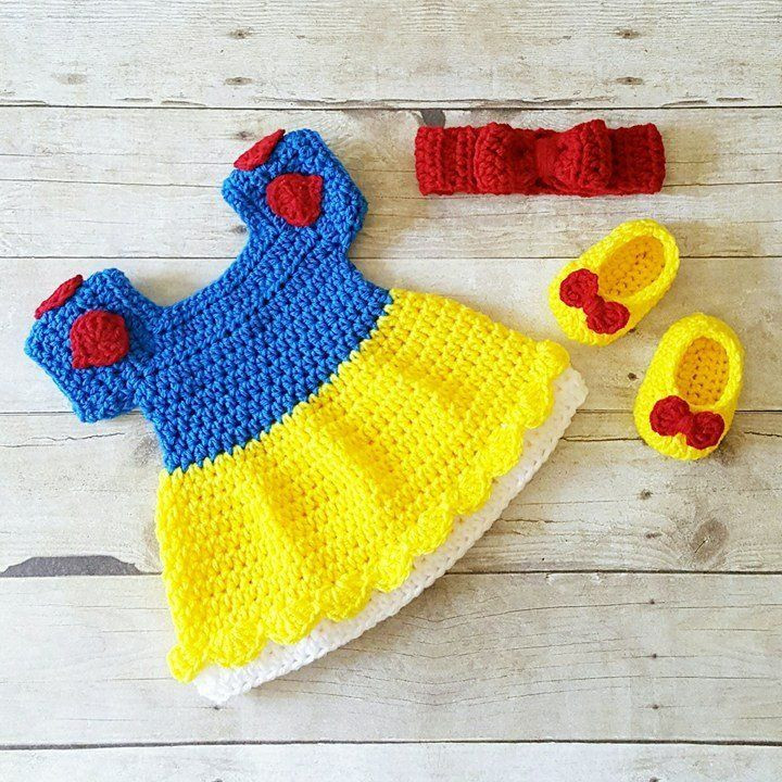 Inspirational Crochet Baby Snow White Inspired Dress Bow Headband Shoes Crochet Baby Costumes Of Incredible 41 Models Crochet Baby Costumes