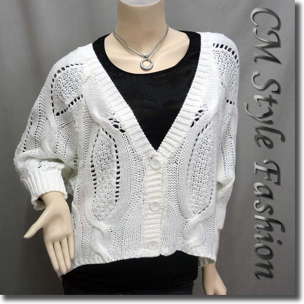 Inspirational Crochet Cable Knit Batwing Sleeve Jumper Sweater Cardigan White Crochet Cardigan Of Lovely 47 Ideas White Crochet Cardigan