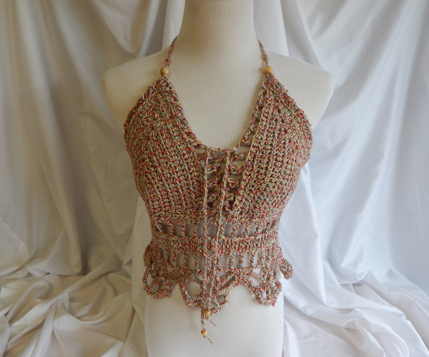 Inspirational Crochet Halter top Y Lace Up Boho Festival top with Beads Crochet Festival top Of Top 44 Ideas Crochet Festival top