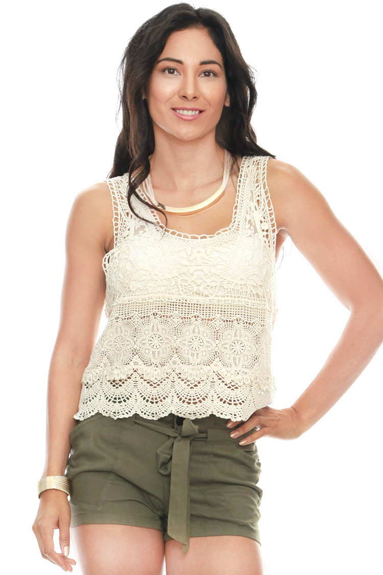 Inspirational Crochet Lace Shirred Crop Tank Tanks & Camis Crochet Tank Of Delightful 47 Images Crochet Tank