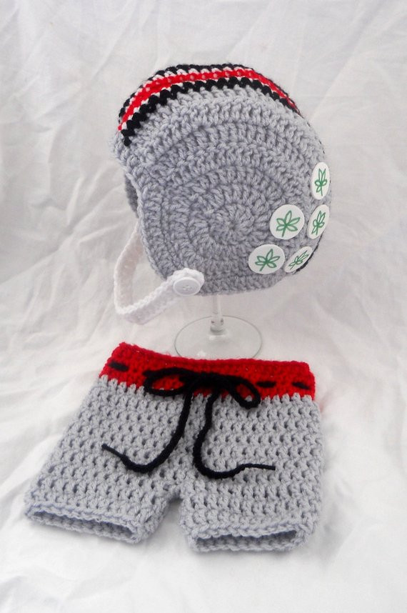 Inspirational Crochet Ohio State Inspired Football Helmet Hat and Shorts Crochet Football Helmets Of Best Of Breezybot Free Pattern Baby Crochet Football Helmet Crochet Football Helmets