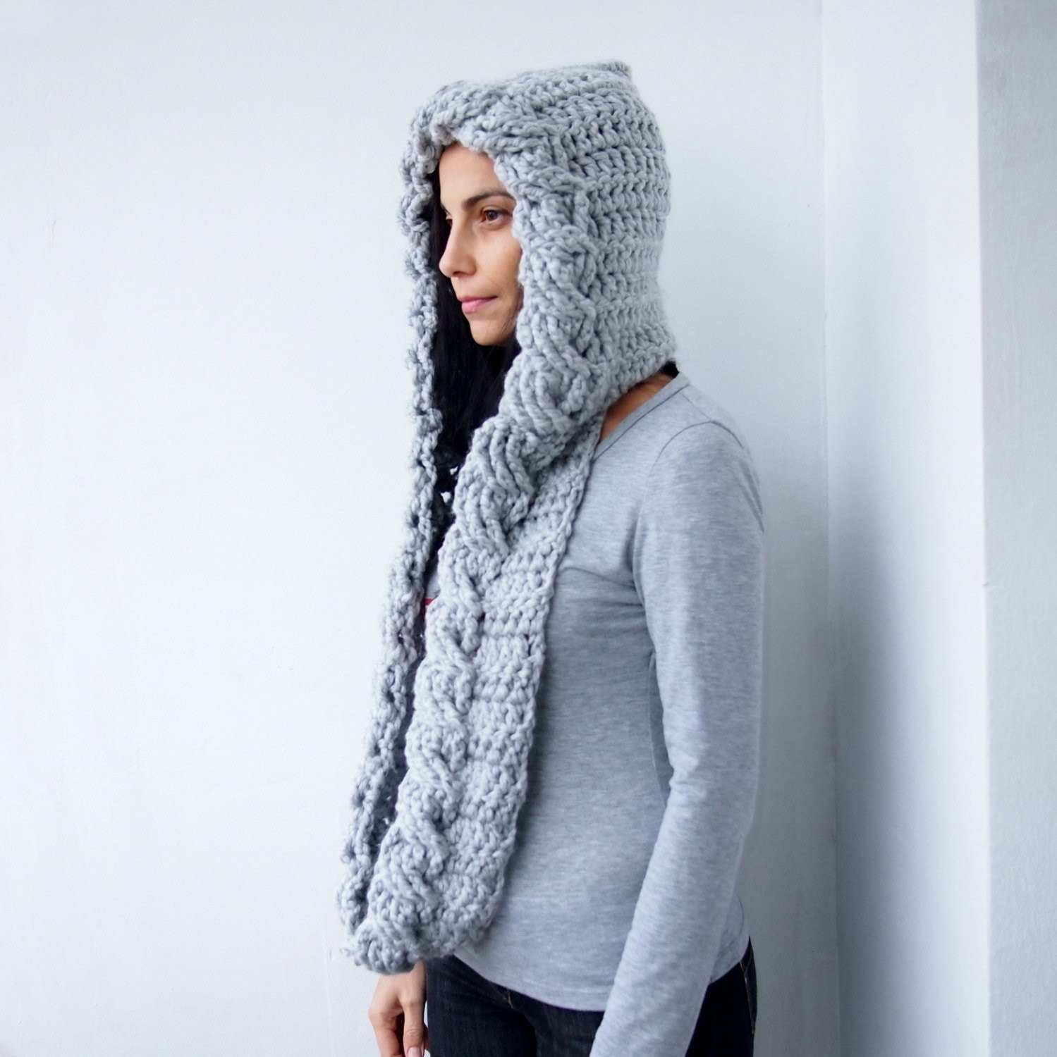 Inspirational Crochet Pattern Cable Pixie Hood Scarf Loop by byaccessorise Hooded Scarf Pattern Of Brilliant 43 Pics Hooded Scarf Pattern