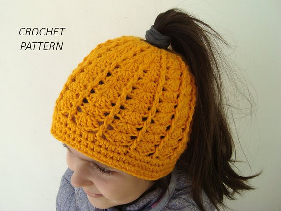 CROCHET PATTERN Messy bun hat for runners Ponytail beanie for