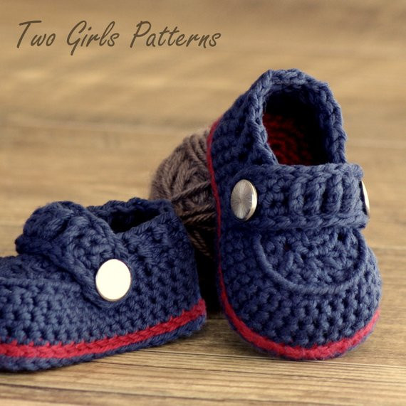 Crochet patterns Baby Boy Booties The Sailor Pattern