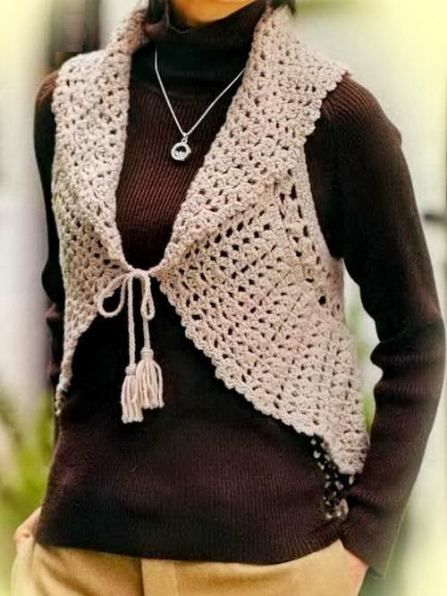 Inspirational Crochet Sweaters Crochet Vest Pattern for Women Circle Vest Womens Crochet Vest Of Amazing 47 Pics Womens Crochet Vest