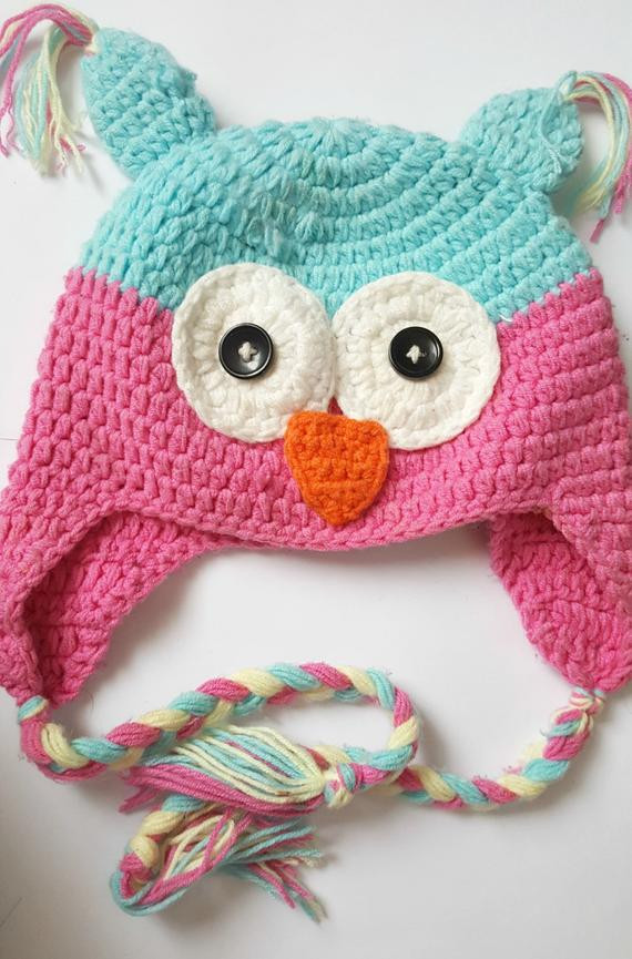 Crochet Toddler Owl Hat with Ear Flaps Girls