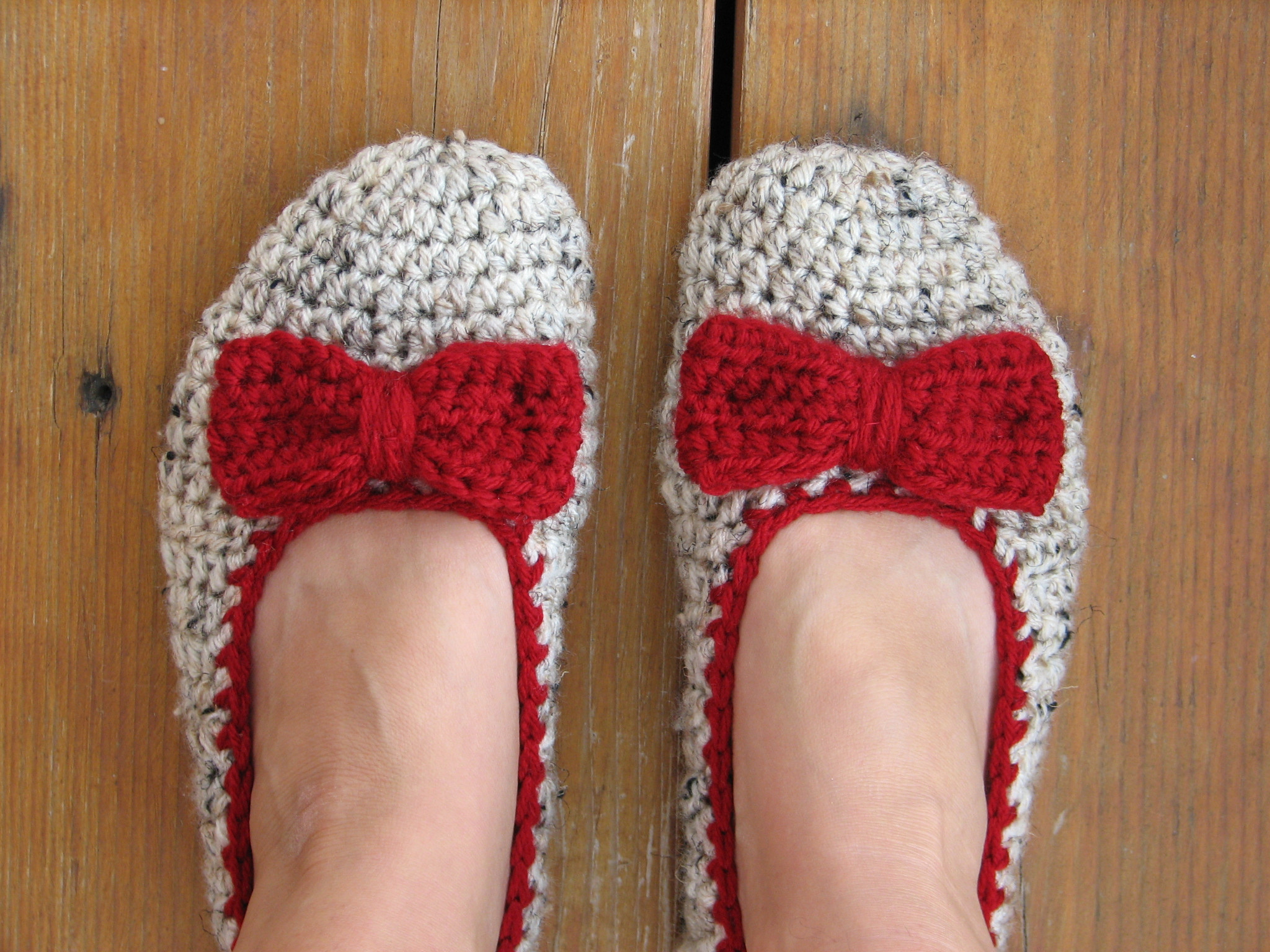 Inspirational Crochet Women Slippers Oatmeal with Red Bow Accessories Crochet Adult Slippers Of Charming 47 Ideas Crochet Adult Slippers