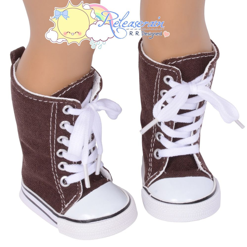 Doll Shoes Knee High Lace Up Sneakers Boots Chocolate for