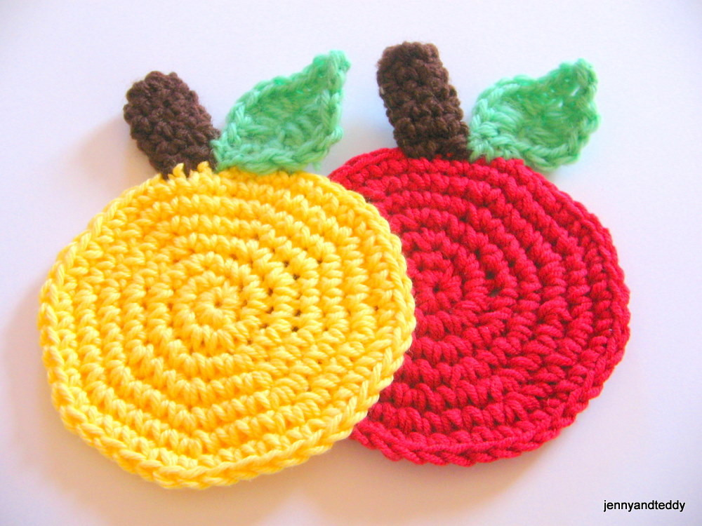 easy apple crochet coaster free pattern