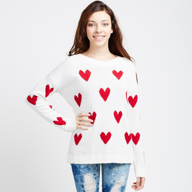Inspirational F White Sweater Cream & Red Heart Print Red Heart Sweater Of Lovely 32 Ideas Red Heart Sweater