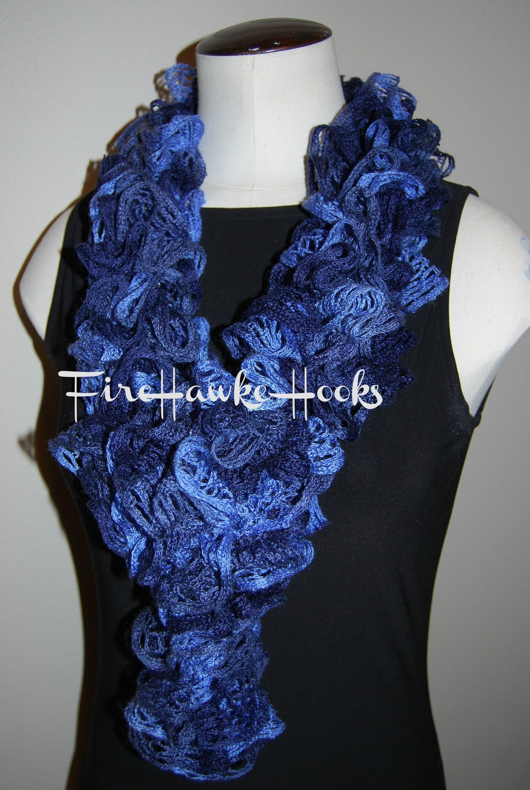 Firehawke Hooks and Needles Free Pattern Ruffle Scarf