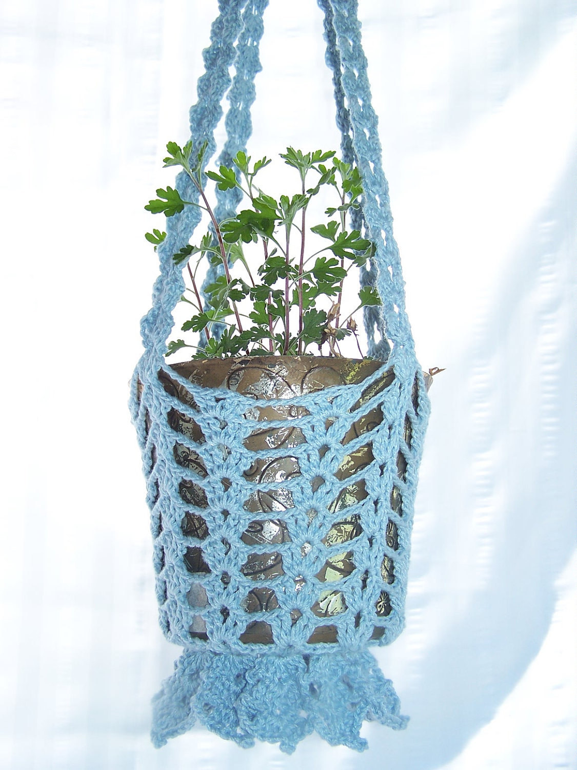 Inspirational Flower Hanging Basket In Light Blue Crocheted for Flower Pots Crochet Hanging Basket Of Awesome 47 Photos Crochet Hanging Basket