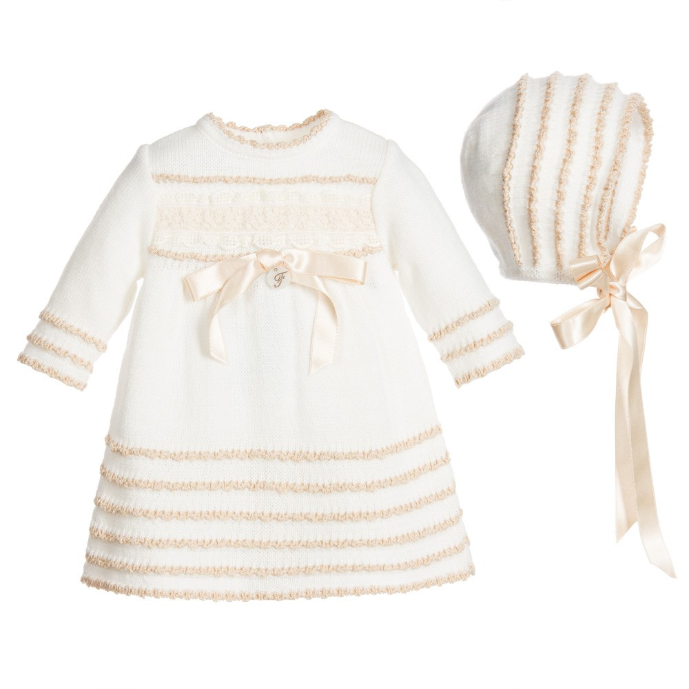 Inspirational Foque Baby Girls Ivory Knitted Dress & Bonnet Set Baby Girl Knitted Dress Of Incredible 47 Photos Baby Girl Knitted Dress