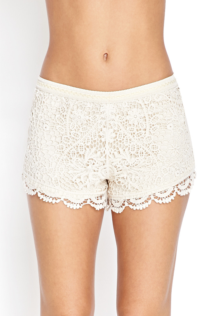 Forever 21 Crochet Knit Shorts in White
