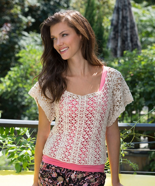 Free Lace Essence Top Crochet Pattern from RedHeart