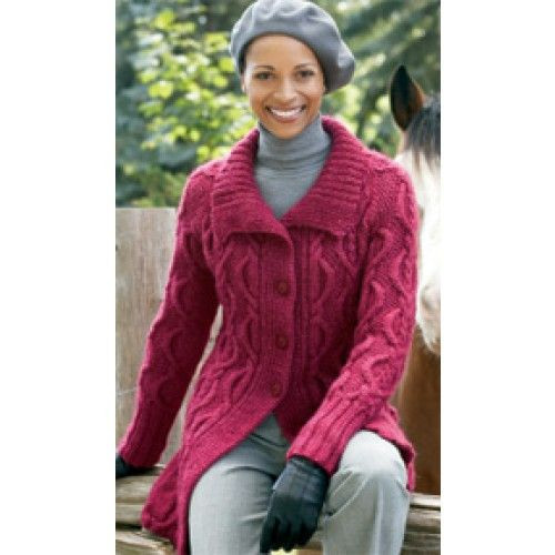 Free Long Cabled Cardigan Knit Pattern