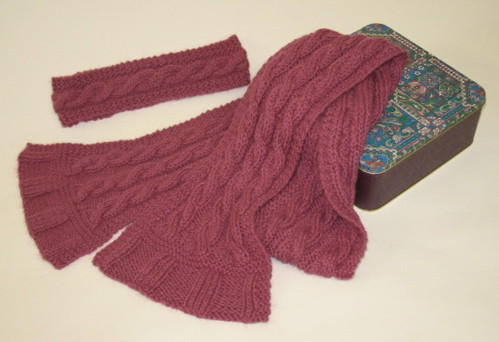 Free Pattern Easy Cable Scarf & Headband
