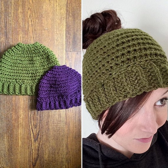 Girls La s Crochet Beanie Hat with hole for Ponytail