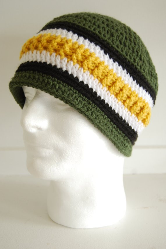 Inspirational Green and Gold Mens Beanie Crocheted Beanie Hat for Men Crochet Mens Beanie Of Luxury 44 Ideas Crochet Mens Beanie