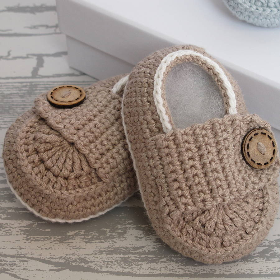 hand crochet bamboo baby shoes by attic