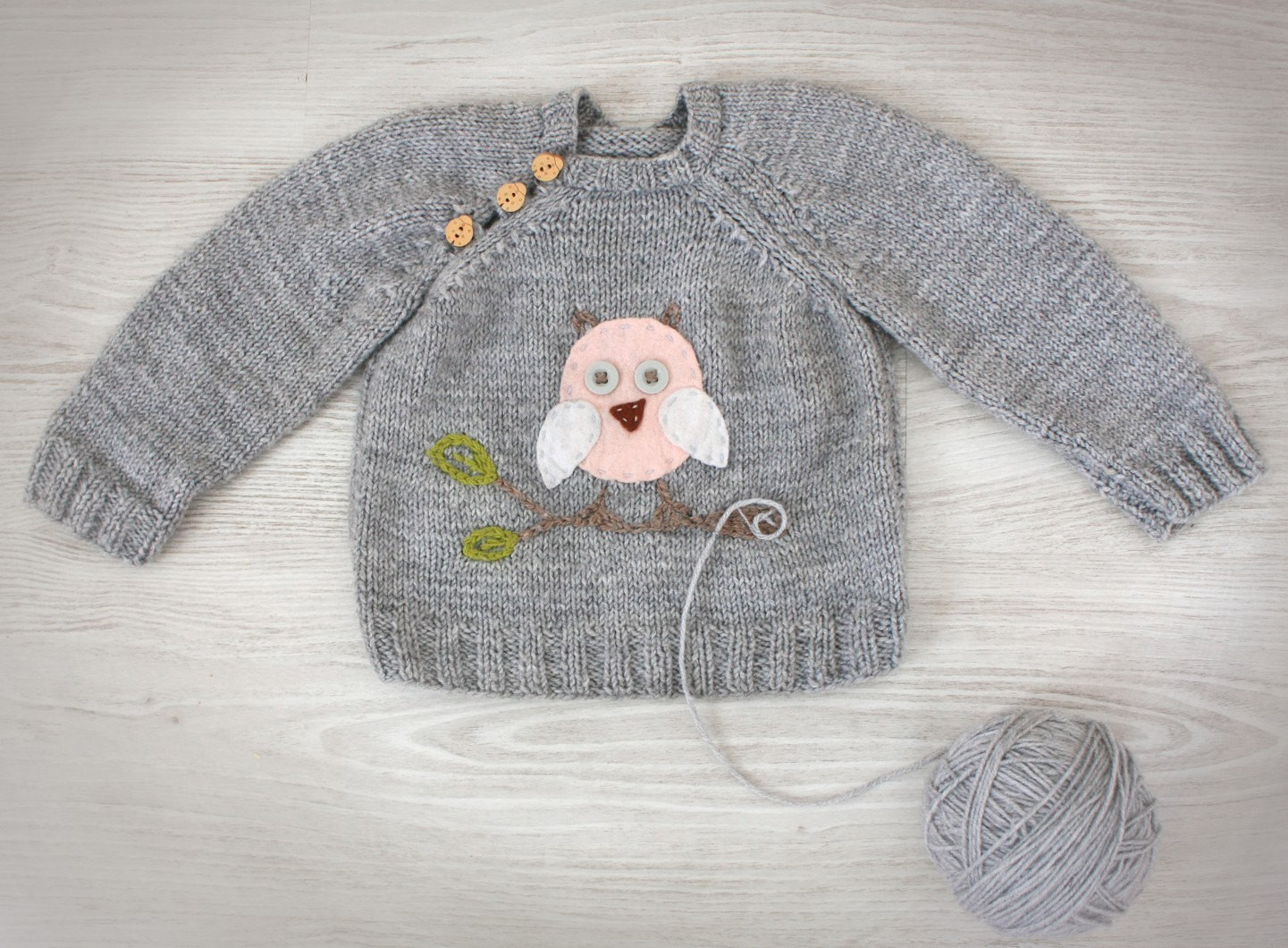 Hand Knit Baby Sweater Grey Knit baby clothes with by creaspir