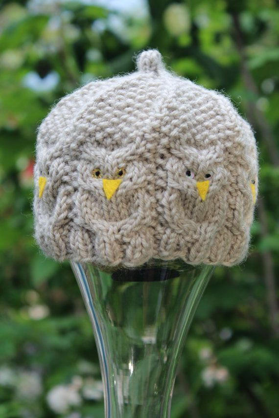 Hand Knit Gray Baby Great Horned Owl Hat