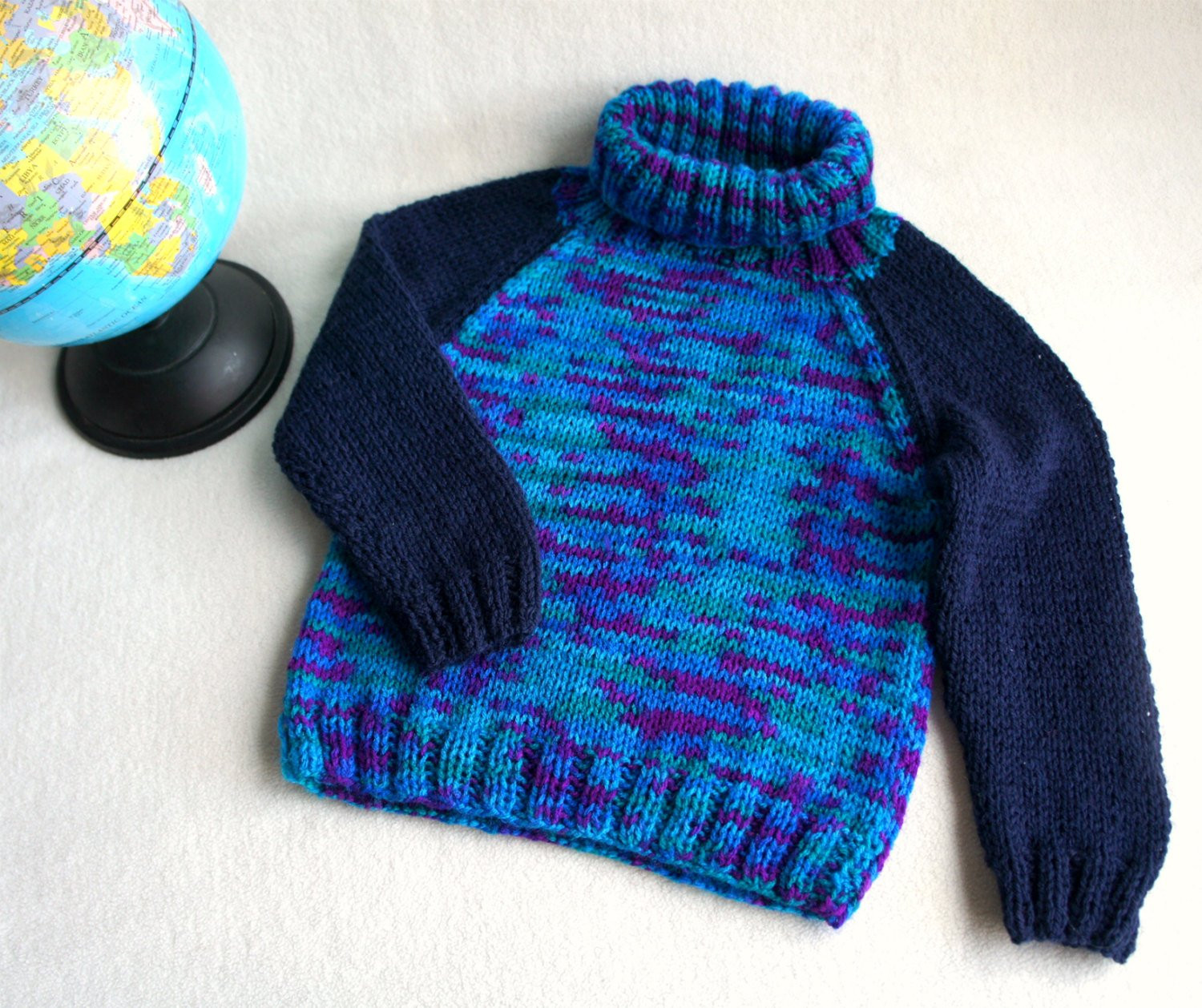 Hand knitted boys sweater blue green knit sweater wool boys