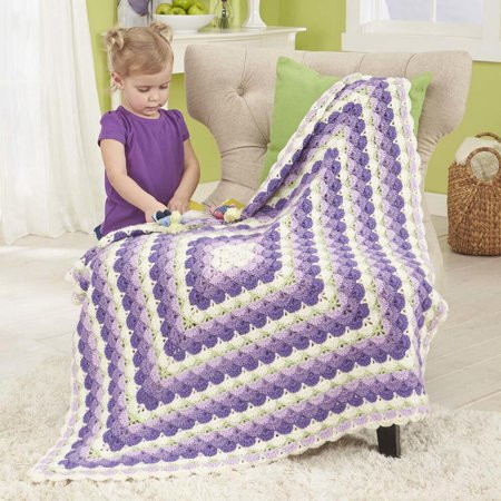 Herrschners Feathered Shells Baby Afghan Crochet Afghan