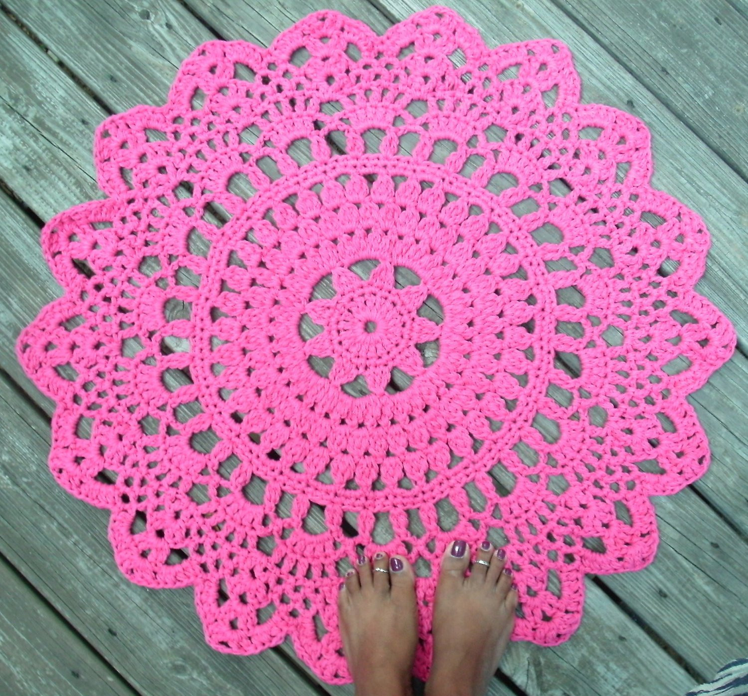 Inspirational Hot Pink Cotton Crochet Doily Rug In 30 Circle Lacy Crochet Circle Pattern Of Incredible 43 Photos Crochet Circle Pattern