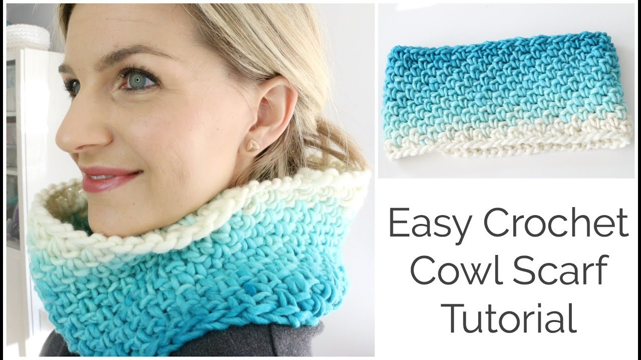 How to Crochet a Cowl Scarf tutorial Beginner Friendly