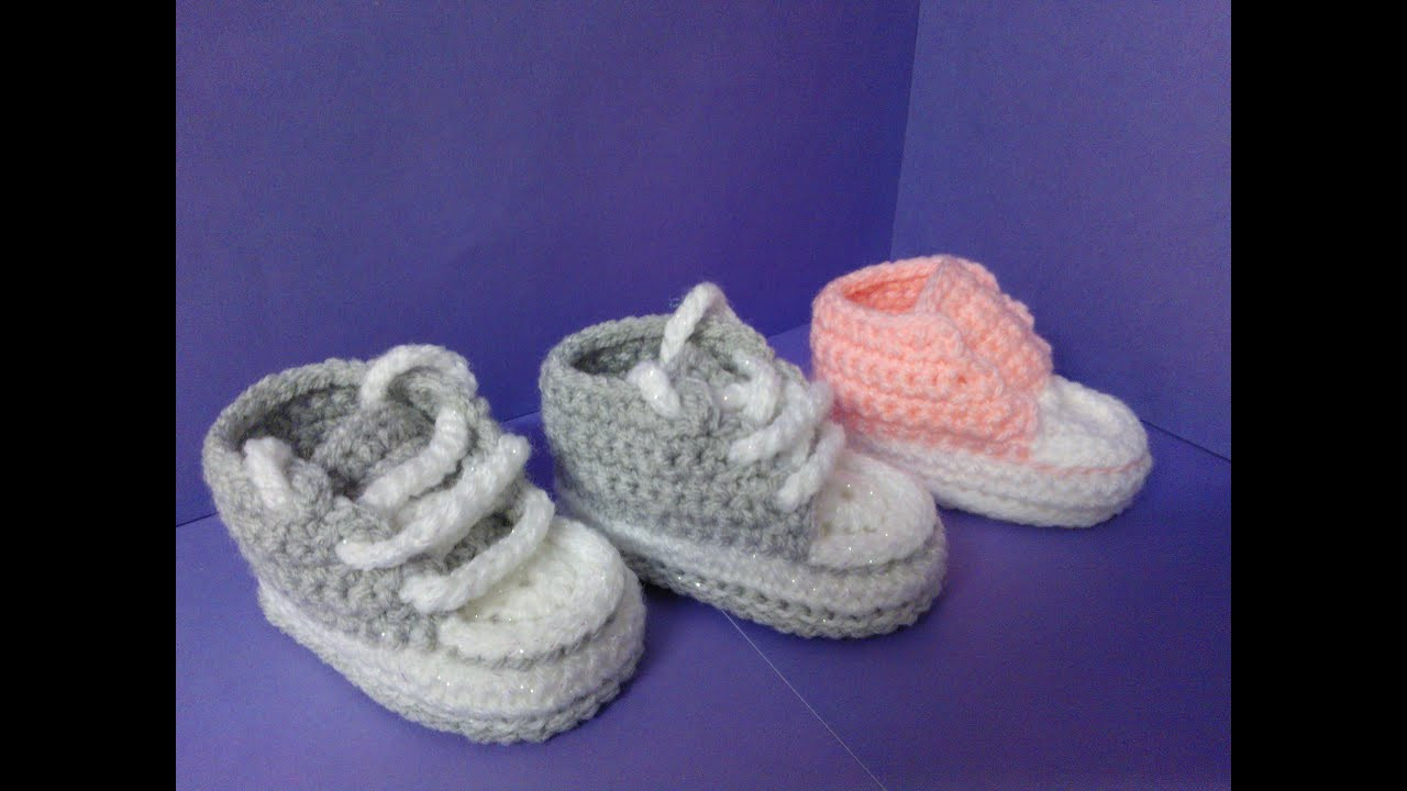 How to crochet My easy new born baby converse style