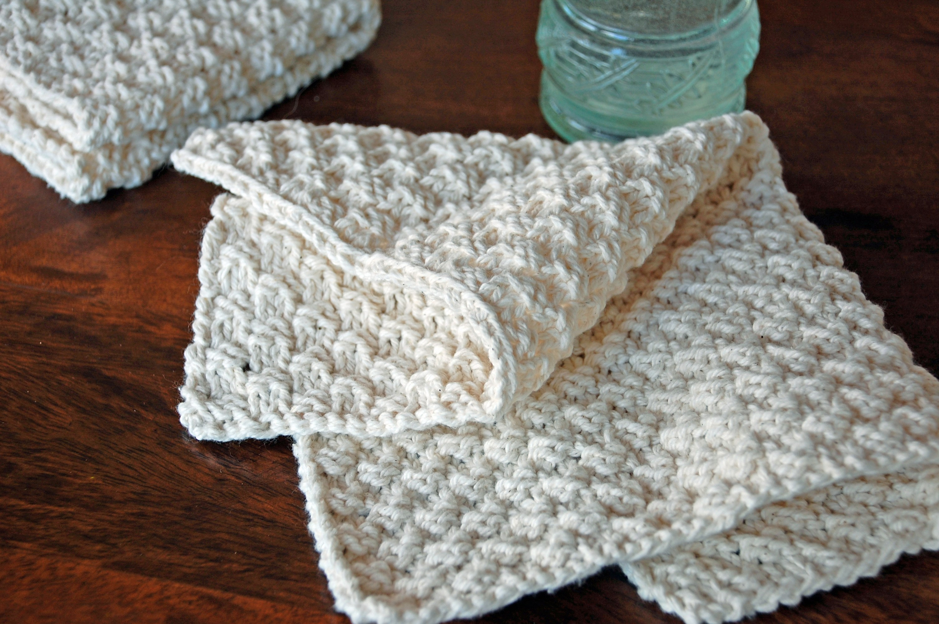 Instruction to knit cotton washcloth and add crochet edge
