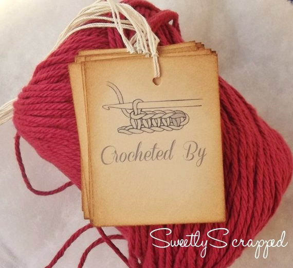 Items similar to Crocheted By Tags Labels Gift Wrap