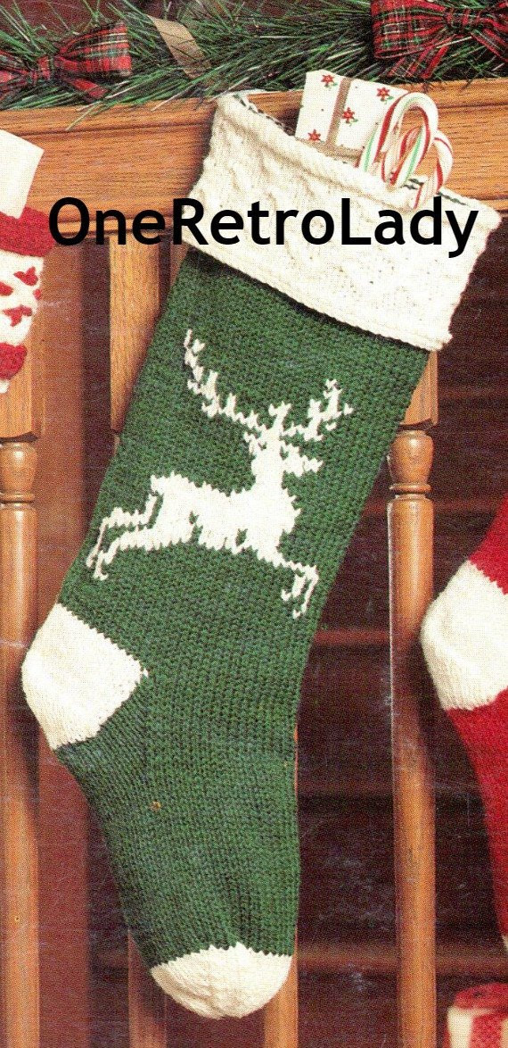 Items similar to Knit Christmas Stocking Pattern Vintage
