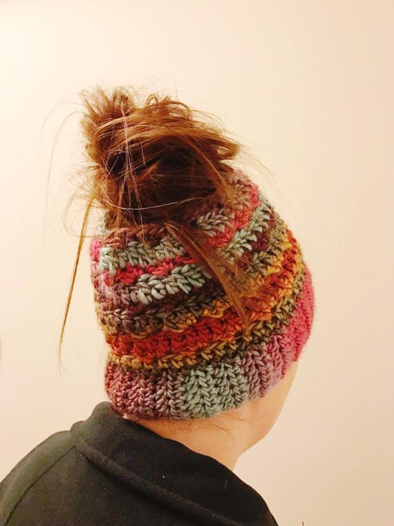 Inspirational Items Similar to Messy Bun Hat Crochet Pattern top Knot Beanie with Hole for Bun Of Great 40 Pics Beanie with Hole for Bun