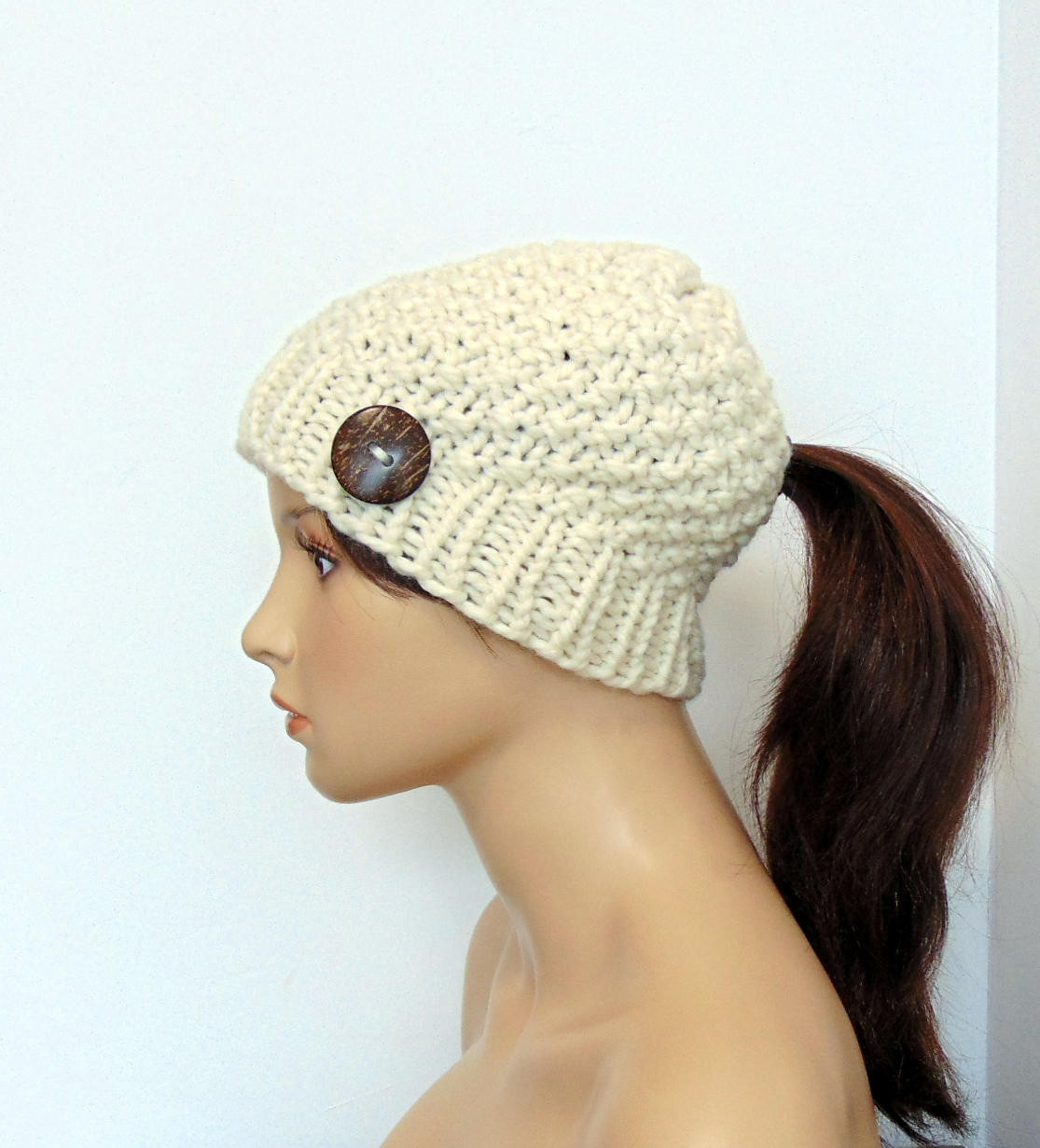 Inspirational Ivory Chunky Knit Ponytail Hat Moss Stitch Beanie with Pony Ponytail Winter Hat Of Incredible 45 Pictures Ponytail Winter Hat
