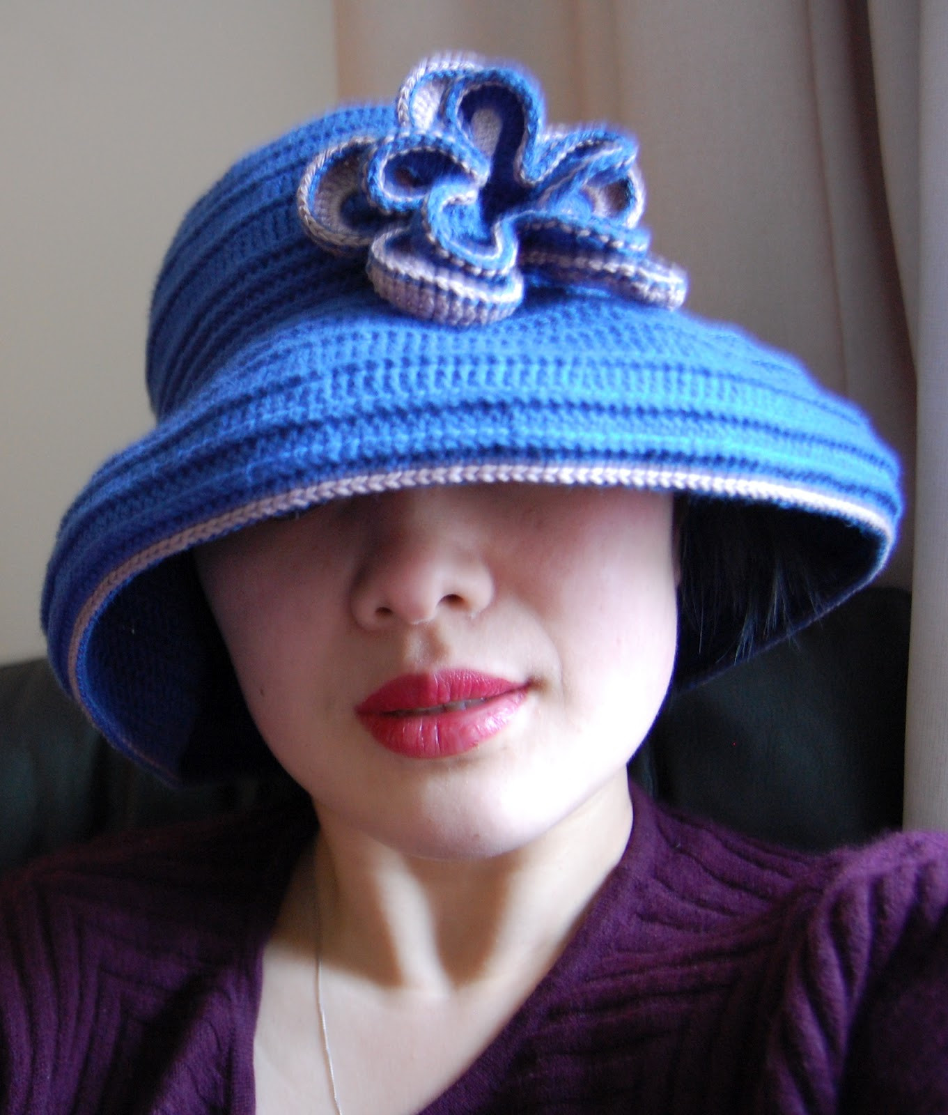 Keeping Mama Sanchez busy Wide brimmed crochet sun hat