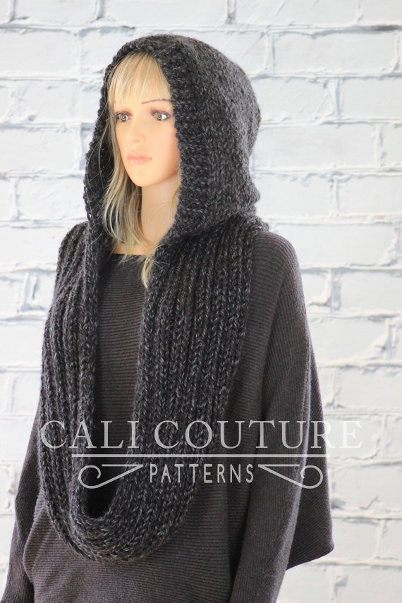 Knit Hooded Scarf Pattern Montreal Hooded Infinity Scarf